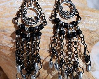 Sterling Silver, Silver Tone, Mermaid Charm , Rizo Beads, Seed Beads, Chandelier Earrings, Boho, Jewelry, Handmade, Chain