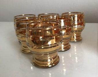 1950's liqueur /cordial/ aperitif glass set with gold stripes design x 6