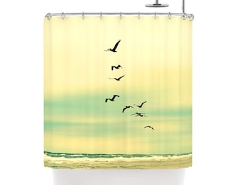 Fabric Shower Curtain  - Across the Endless Sea - Photography, bathroom, home, decor, beach, ocean, sea, birds