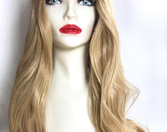 Savannah - Ombre Black brown Dirty Blonde  Color Lose Curl Long Weave Wig/ Synthetic Wig with Layer Bangs / Blonde Wig/ Lace Front Part