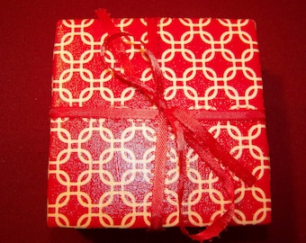 Red and White Handmade Ceramic Tile Coasters Set of 4