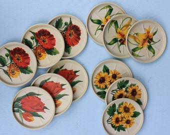Vintage Set of One Dozen Metal Round Coasters, Floral, Original Box
