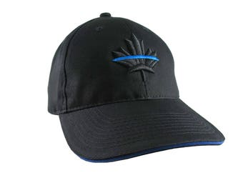 A Canadian Thin Blue Line Maple Leaf Symbolic Black Royal Blue 3D Puff Embroidery Adjustable Black Structured Baseball Cap Back The Blue