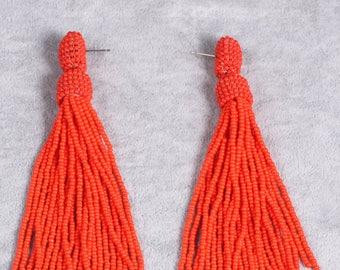 Orange tassel earrings, beaded tassel earrings in Oscar de La Renta style, orange tassel beaded earrings, oscar de la renta tassel earrings