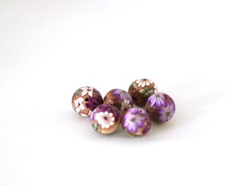 Polymer Clay Beads, Purple Brown Flowers, Wildflower Round Beads 6 Pieces