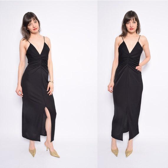 Vintage 90\'s Black Strappy Maxi Dress / Front Slit Sheer