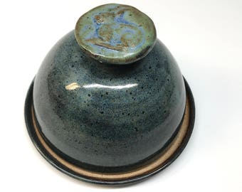 Domed Ceramic Butter Dish Cheese Dish Butter Keeper  in Blues with bunny knob  In Stock Ships Today +This is a Second+