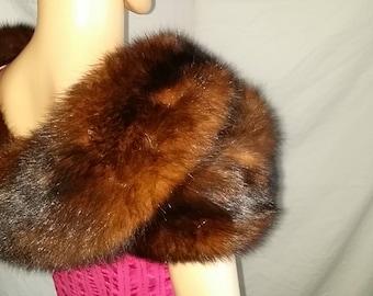Vintage Soft Very Plush Fur Stole Shrug, Wrap, Stole, Cape, Small - Medium
