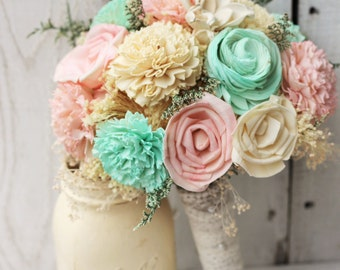 Rosy Pink and Mint Bouquet, Sola Wood Flower Bouquet
