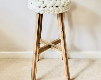 Chunky knit Rachael Bar Stool   Merino wool & Solid Acacia wood   Sumptuous treats for your home