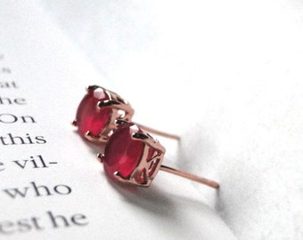 TWO DAY Sale Ruby Studs, 18k Rose Gold Plated Ruby Studs, Rose Gold Earrings, Gold Earrings, Filigree Rose Gold Setting