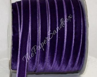 "3/8"" Purple Velvet Ribbon, Pantone Radiant Orchid"