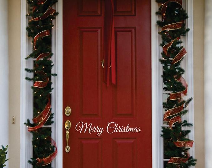 Christmas Door Decoration //  Merry Christmas Door Decal  // Christmas Decoration // Christmas Decal // Front Door Christmas Decal