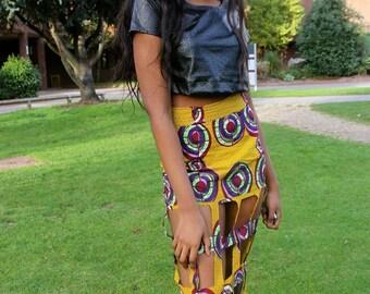 African Print Cut-out Skirt