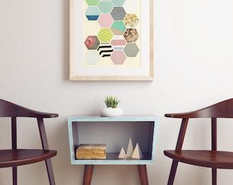 Geometric Honeycomb, Hexagon Pattern Print, Modern Art, Colourful Decor - Florals and Stripes
