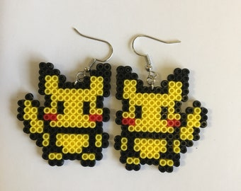 Pikachu. Pokemon. Jewelry. Earrings Perler beads. Pixel art.