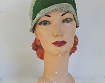 vintage 1920s cloche hat - MOSS green straw and felt flapper hat