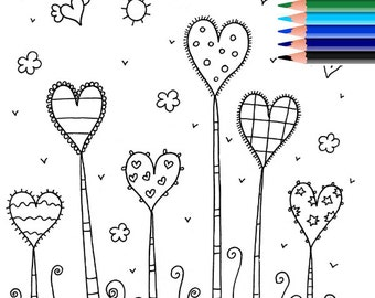 Adult Coloring Page, Coloring Pages, Printable Coloring Pages, Coloring Page Love,  Digital Coloring, Kids Coloring, INSTANT DOWNLOAD