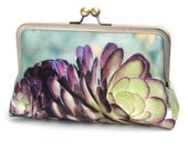 Succulent clutch bag, silk purse, green, purple petals, desert cacti plant, bridesmaid gift