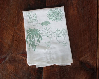 Succulents towel, houseplants, kitchen towel, housewarming gift, bridal shower gift, coworker gift, kitchen towels, succulent plants, gifts