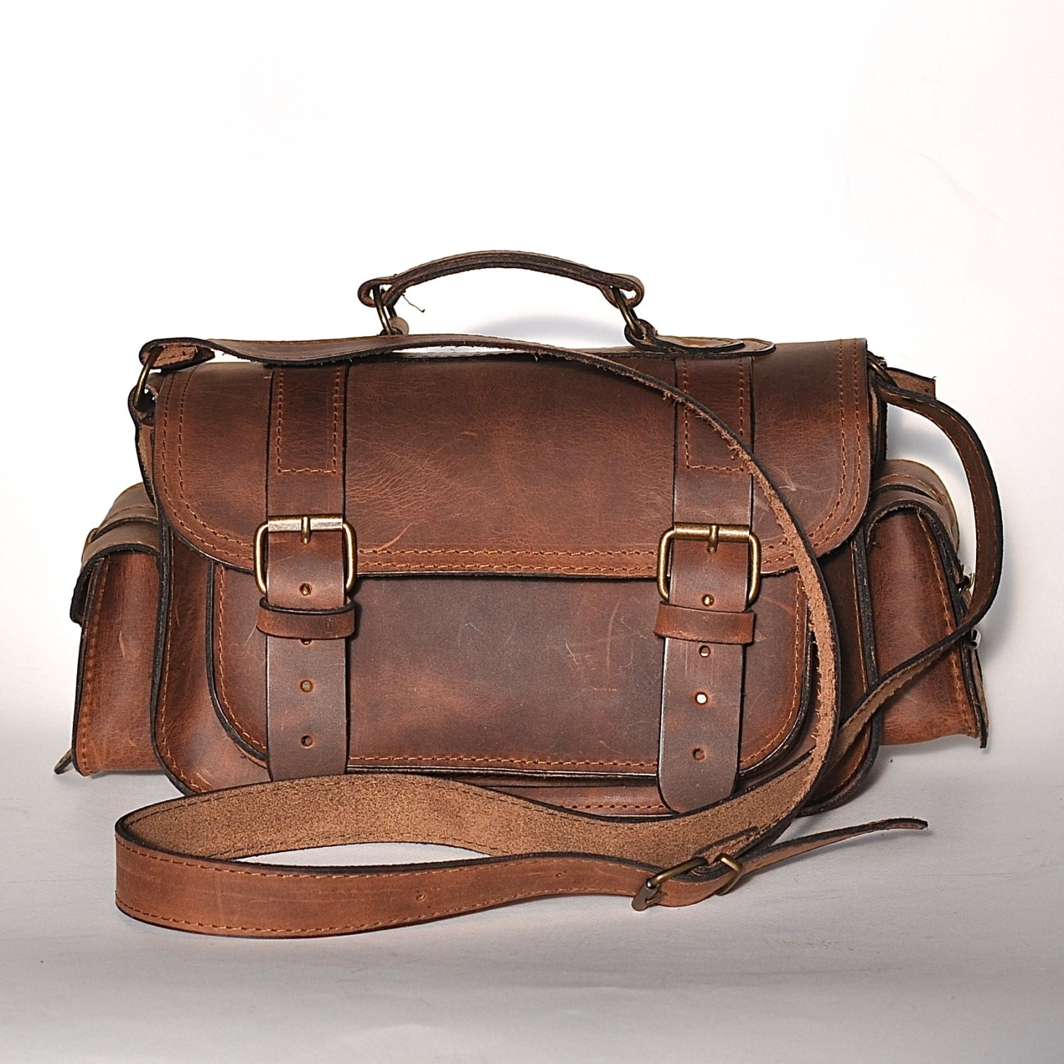 Medium size leather camera bag / Women/Men chestnut leather