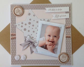 Handmade card, 3D, comes with its envelope birth congratulations
