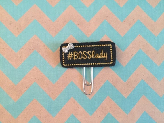 Boss Lady hashtag Paper Clip/Planner Clip/Bookmark. Choose with or without bow. Girl boss planner clip