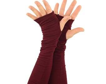 Arm Warmers in Merlot - Burgundy Wine Maroon - Fingerless Gloves - Sleeves