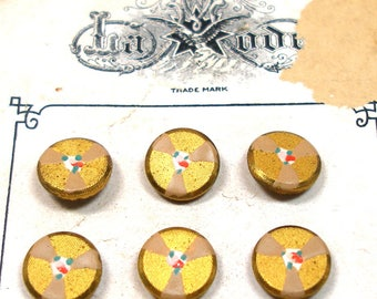 Adorable French BUTTONS, 1900s painted metal with tiny flowers, LaMode, unused. Original card.
