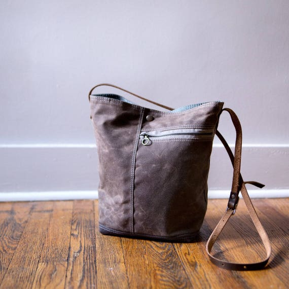 Brown Waxed Canvas Tote by Moot