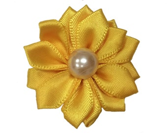 1.5 inch Satin Pearl Flower, Wholesale Crafting Flowers for Baby Girl Head Bands, Lot of 1, 2, 5 or 10, Yellow