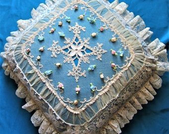 """Redesigns handmade antique lace & vintage blue lining pillow 16"""""""