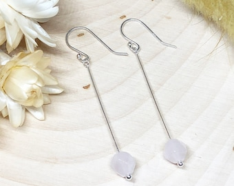 Faceted Rose Quartz Beads on Sterling Silver Earwire Earrings