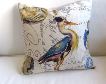 BLUE HERON pillow ready to ship includes down/feather insert ooak