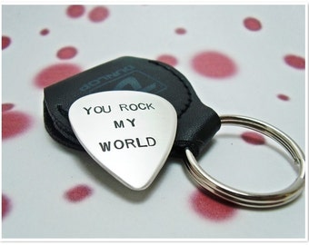 Personalized Guitar Pick with Leather Key Ring Holder - Hand Stamped Guitar Pick - Music lover gift - Custom Guitar Pick