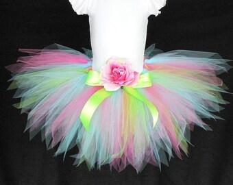 """Birthday Tutu, Pink Green Blue Tutu, Girls Tutu, Baby Tutu, Funshine, 11"""" pixie tutu, Photo Prop Tutu, Girls Birthday Tutu, Flower Girl Tutu"""