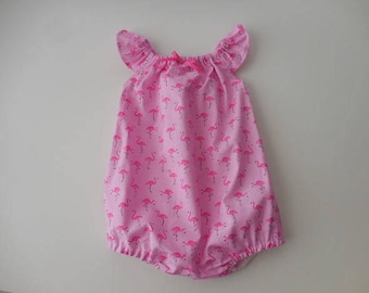 Sunsuit romper playsuit for babies and toddlers pink flamingos