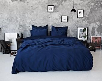 Sateen Duvet Set   Navy Bedding, Bed Sheets, Bedroom Sheets, Sheets, Cotton  Sheets