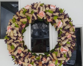 "Large Peach/Purple/Green 20"" Wine Cork Wreath"