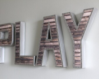 Play Letters, Play Signs, Kids Playroom, Industrial Letters, Playroom Sign, Kids Playroom Decor, Kids Room Sign, Kids Room Wall Decor