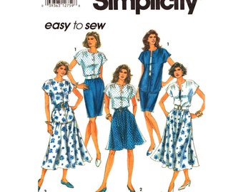 Blouse & Skirt Pattern Simplicity 7901 Top and Slim or Flared Skirt Womens Size 12 14 16 18 Sewing Pattern