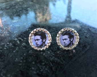 James Dean classic 1950's actor black and white stud earring