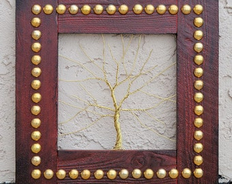 Original Art Large Tree Abstract Sculpture ... Wire tree on salvaged shabby dark red frame, great gift size