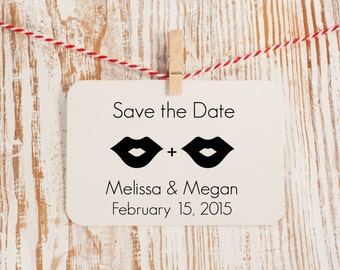 Custom Save the Date Stamp - Beards, Lips, and Mustaches Style No. 14W