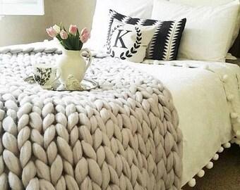 Chunky Knit Blanket, Merino Wool blanket,Arm Knit,Chunky Knit,Chunky knit throw