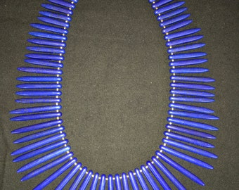 Ethnic Lapis-Look Spike Bead Necklace