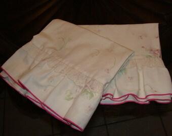Two Shabby Chic Ruffled Vintage Pillowcases