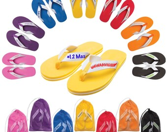 Custom flip flops (soccer, cheer, baseball, softball, swim, tennis, dance, acro, gymnastics, golf, basketball, football, volleyball etc)