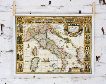 Map of Italia from 1676, Vintage map printed on Fine Art Canvas 12x16 inch (30x40cm), Map of Italy