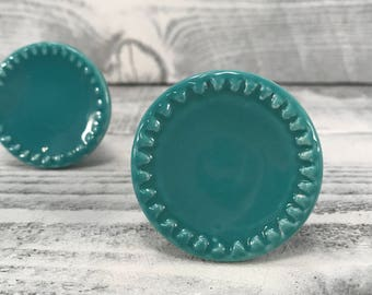 Round Turquoise Ceramic Knob, Cabinet Upgrade Pull, Dresser Drawer Knobs, Item #517354246